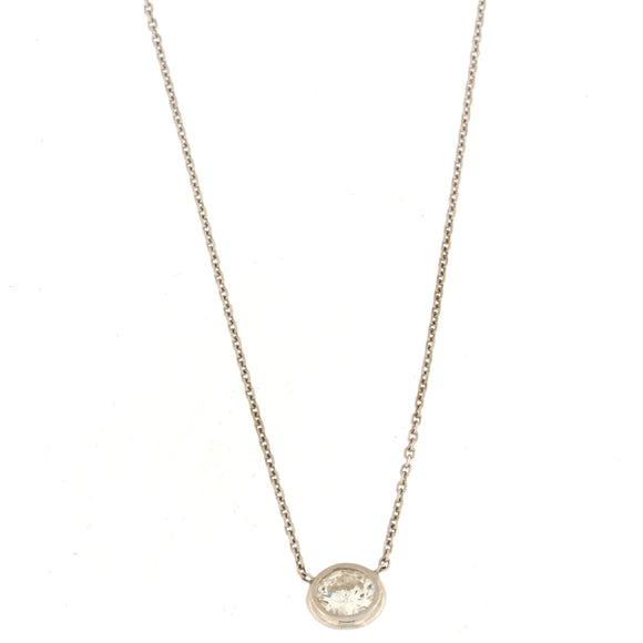 Single Diamond Bezel Necklace White Gold (.59 ctw)