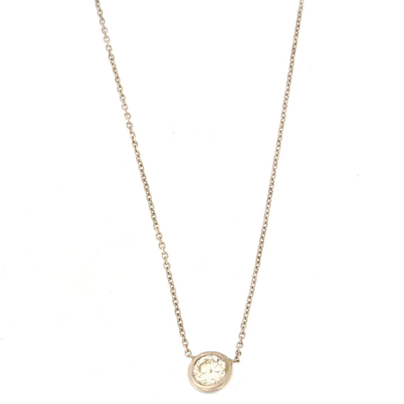 Single Diamond Bezel Necklace White Gold (.57 ctw)