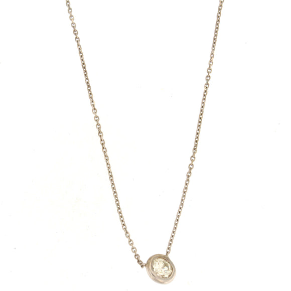 Single Diamond Bezel Necklace White Gold (.42 ctw)