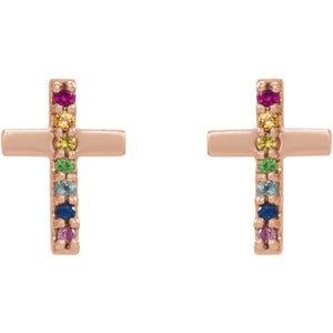 Rainbow Stone Cross Earrings
