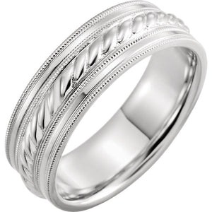 Men's Rope Detail & Milgrain Wedding Band