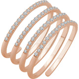 Spiral 4-Row Diamond Ring