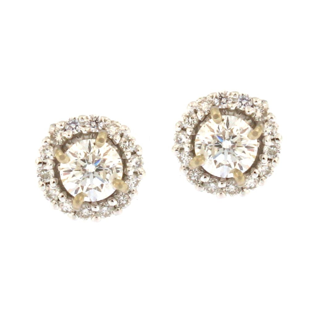 Diamond Stud Earrings in Round Halo (.95 carats)