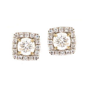 Diamond Stud Earrings in Cushion Halo (.92 carats)