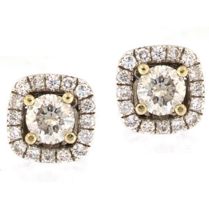 Diamond Stud Earrings with Removable Cushion Halos (1.2 carats)