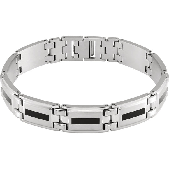 Stainless Steel & Black Enameled Bracelet