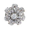 1.49CTW Diamond Floral Cluster Ring 14k White Gold Vintage Art Deco Estate