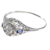 0.25CT Diamond Baguette Sapphire Ring 18k White Gold Filigree Antique Art Deco Estate