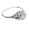 0.25CT Diamond Baguette Sapphire Ring 18k White Gold Filigree Antique Art Deco