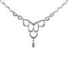 0.55CTW Diamond Drop Pendant Necklace 14k White Gold Vintage Art Deco Style