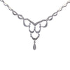 Diamond Drop Pendant Necklace 14k White Gold Vintage Art Deco Style 0.55CTW