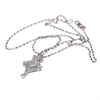 Princess Diamond Pave Drop Pendant Necklace 14k White Gold Vtg. Art Deco 0.30CTW