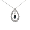 1.75CTW Diamond Pear Sapphire Tear Drop Pendant Necklace 14k White Gold