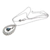 1.75CTW Diamond Pear Sapphire Teardrop Pendant Necklace 14k White Gold