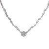 1.05CTW Diamond Flower Pendant Station Necklace 18k White Gold Fancy Ball Chain