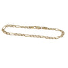 Womens Figaro Chain Link Bracelet Solid 14k Yellow Gold 4mm 7inches 5.2g