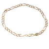 Womens Figaro Chain Link Bracelet Solid 14k Yellow Gold 4mm 7inches 6.2g