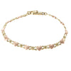 Heart Kisses XOXO Chain Link Bracelet Solid 14k Rose Yellow Gold 5mm 6inches 4.1g