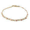 Love Heart Kisses XOXO Chain Link Bracelet 14k Rose Yellow Gold 5mm 6inches 4.1g