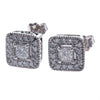 1CTW Princess Diamond Square Halo Stud Earrings 14k White Gold Butterfly G-H/SI1