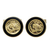 1997 1/20 oz 24k Gold Panda Coin Black Onyx Cufflinks Unisex 20mm 12.4g