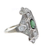 Green Tourmaline Diamond Cocktail Ring 18k White Gold Filigree 1940s Antique Art Deco