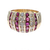 0.95CTW Ruby Diamond Ribbed Band Ring Solid 14k Yellow Gold Womens Vintage Estat
