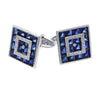 Lucien Piccard Sapphire Diamond Square Cufflinks 14k White Gold 21mm 14.24CTW