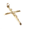 Jesus Crucifix Cross Necklace Pendant Solid 14k Yellow Gold 3.00g