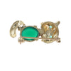 Chrysoprase Emerald Whimsical Cat Brooch Pin Solid 14k Yellow Gold 3.00g