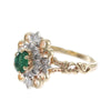 Natural Emerald Diamond Crusades Cross Flower Cocktail Ring 14k Yellow Gold