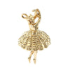 Dancing Ballerina Girl Bracelet Charm Solid 14k Yellow Gold 4.6g