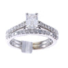1.52CTW Emerald Cut Diamond Engagement Ring Wedding Band Set 14k White Gold H/SI1