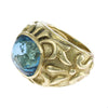 Marlene Stowe Blue Topaz Cocktail Ring Solid 18k Yellow Gold Wide Dome Band