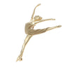 Ballerina Grand Jete Brooch Pin Solid 14k Yellow Gold Girl Dancer 4.9g
