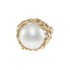 14mm Mabe Pearl Cocktail Ring 14k Yellow Gold Filigree Womens Vintage Estate 6.5
