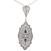 Pearl Sapphire Diamond Pendant Necklace 14k White Gold Filigree Antique Art Deco