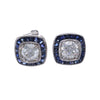 Cushion Art Deco Diamond Sapphire Halo Stud Earrings 18k White Gold 1.96CTW H/SI
