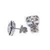 Vintage Art Deco Diamond Sapphire Halo Stud Earrings 18k White Gold 1.96CTW H/SI1