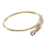 "Pear Amethyst Diamond Bypass Bangle Bracelet 14k Yellow Gold 6.5"" inches 12.9g"