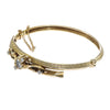 1880s Antique Victorian Oval Diamond Bangle Bracelet 14k Yellow Gold 1.2CTW 6.75