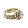 Diamond Floral Ribbed Band Ring 14k Yellow Gold 0.87CTW Womens 5.00