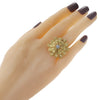 Diamond Tear Drop Cocktail Ring Solid 18k Yellow Gold 1950s Vintage Estate 8.00