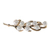 6mm Pearl Nature Tree Leaf Brooch Pin Solid 14k Yellow Gold 4.7g