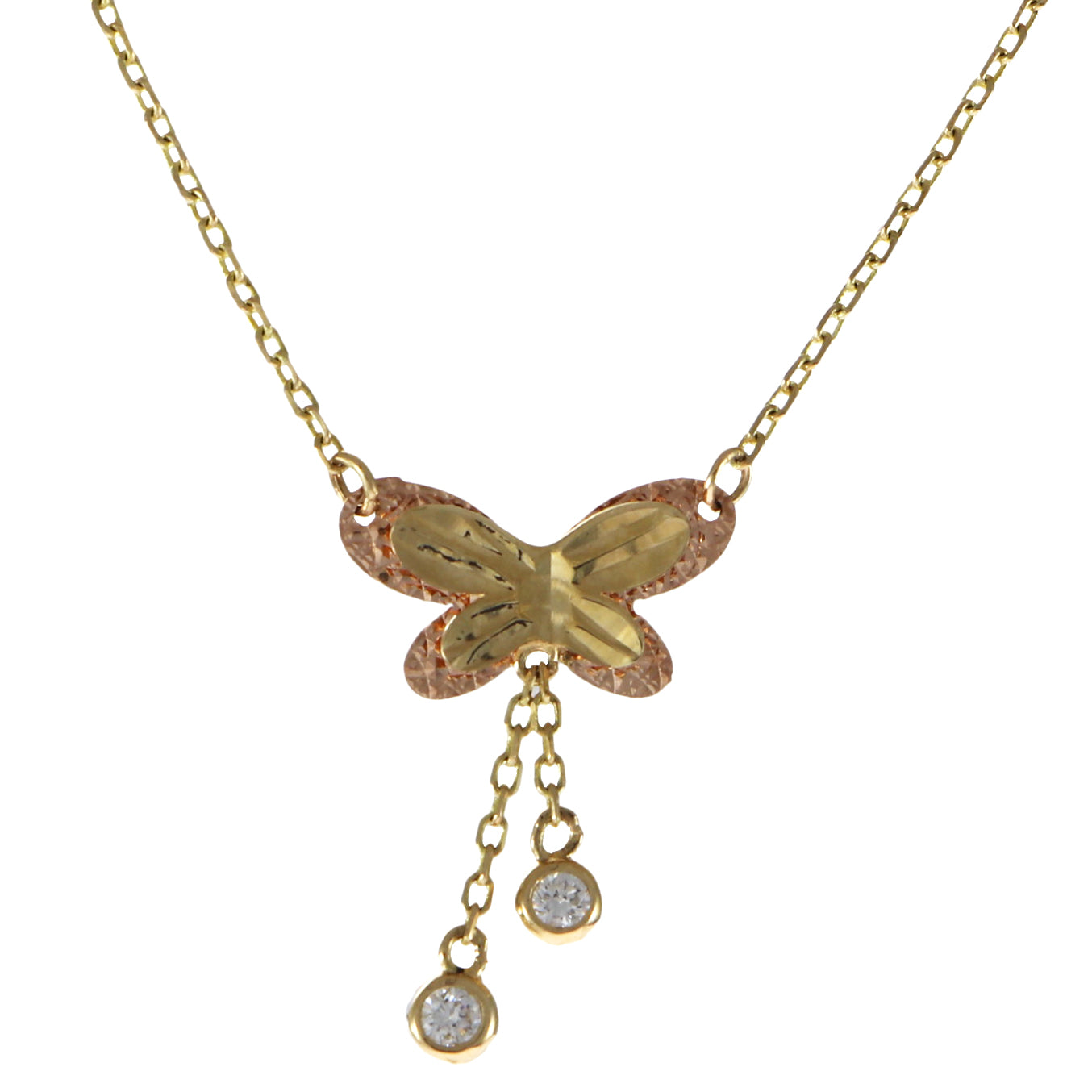 Double Butterfly Diamond Pendant Necklace 14k Yellow Gold Cable Chain The Jewelry Gallery Of Oyster Bay
