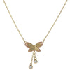 Double Butterfly Diamond Pendant Necklace 14k Yellow Gold Cable Chain Link 1.8g