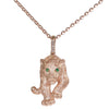 Vintage Effy Panther Emerald Diamond Pendant Necklace Solid 14k Rose Gold 8.2g