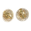 7mm Mabe Pearl Disc Filigree Clip Earrings Solid 14k Yellow Gold 7.6g