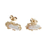 Baroque Pearl Modernist Stud Earrings Solid 14k Yellow Gold 2.8g Womens Vintage Estate