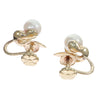 6mm Pearl Flower Earrings Solid 14k Yellow Gold Non-pierced Screw Backs